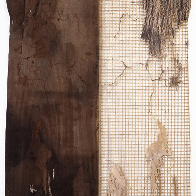Parting Islands No. 2, 2019 Reclaimed wood, bamboo, rattan, metal, cowhide, 199.5 x 141.5 x 4 cm Courtesy of Sopheap Pich