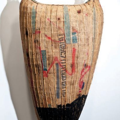Jayavarman VII, 2011 rattan, bamboo, bulap, glass, beeswax, charcoal, pray paint, 168 x 92 x 57 cm Courtesy of Sopheap Pich