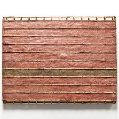 Relief (Gren Stripe), 2011 bamboo, rattan, wire, burlap, encaustics 62 x 81 x 8 cm Courtesy of Sopheap Pich