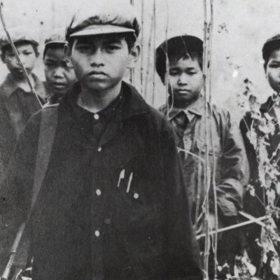 Young Khmer Rouge soldiers, archival photograph